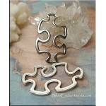 Silver Pewter Puzzle Piece Pendants Autism Jewelry Connectors 42x25mm 6 per bag