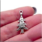 Christmas Tree Charm, Yule Tree Pendant with Stars
