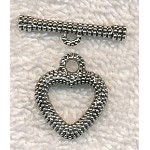 Granulated Heart Toggle Clasps 18mm, Antique Silver (10)