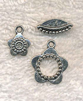 Flower Toggle Clasp and Matching Charm Sets (6)