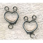 Heart Rosary Connectors or Necklace Y Findings, Antique Silver (10)