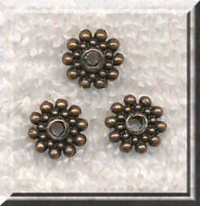 Copper 8mm Snowflake Spacers, Antique Copper Pewter Spacer Beads, Bulk (30)