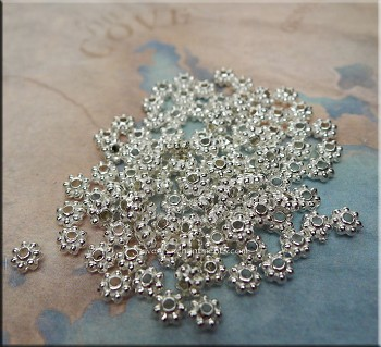 4mm Daisy Spacer Beads, Bright Silver (100)