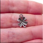 Small 4-Leaf Clover Charm 15x10mm Antique Silver