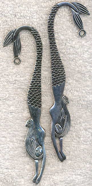 Mermaid Bookmark, Antique Silver 5-inches