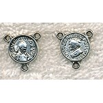Wholesale Pope Bendict Pope John Paul Rosary Parts, Antiqued Silver Rosary Stations, Bulk (10)