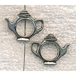 Teapot Beads, Captive Tea Pot Bead Frames with Round Opening (10)