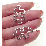 Puzzle Piece Connectors, Antique Silver Autism Awareness (10)