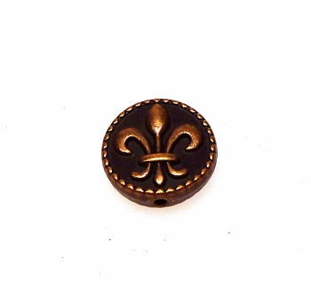 Antique Copper Fleur-de-lis Bead 16mm with 1.5mm Hole