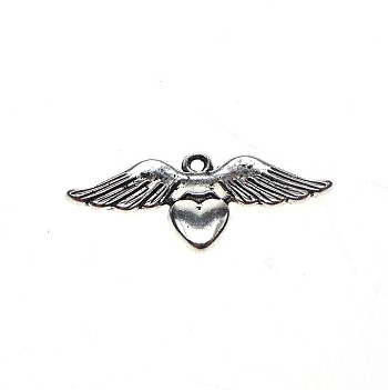Angel Wing Heart Charm-Pendant, Sufi Heart with Angel Wings, Antique Silver
