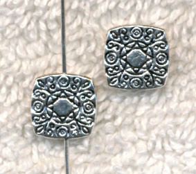 10mm Wholesale Pewter Fancy Square Chicklet Beads