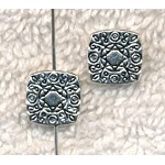 10mm Fancy Chicklet Beads, Antique Silver (10)