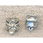Silver Plated Flower Box Clasp with Crystal