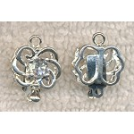 Silver Plated Fancy Loopy Swirl Box Clasp with Crystal