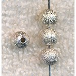 6mm Round Stardust Ball Beads, Silver Plated, Bulk (20)