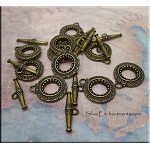 SOLDOUT -- Fancy Toggle Clasps, Antique Brass Bronze 14mm (10)
