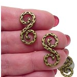 Brass Swirl S Hook Jewelry Findings, Double Sided Connectors, Bulk (10)