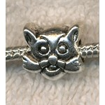 Cat Large Hole Bead, Antique Silver Big Hole Cat Beads (1)