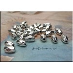 Faceted Rice Beads, Antiqued Silver 6x4mm Beads (30)