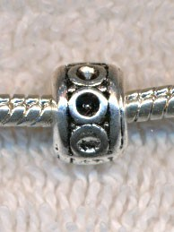 Silver Pewter Fancy Rondelle Large Hole Bead