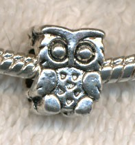 Owl Big Hole Beads, Antique Silver Owl Beads (10)