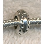 Silver Dimpled Rondelle Large Hole Bead, European Style Big Hole Bead