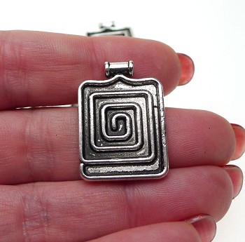 Beader Bailed Spiral Maze Pendant Antique Silver 27x20mm with 2mm Hole