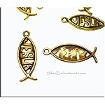 Jesus Necklace, Antique Gold Christian Fish