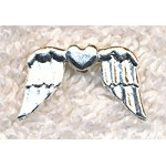 Angel Wings Bead with Heart, Bright Silver Finish, Sufi Heart Beads (1)