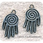 Spiral Hand Pendant, Hand Necklace, Reiki Jewelry