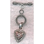 Toggle Clasp with Light Pink Crystals, Heart