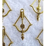 Archery Pendants, Antiqued Gold Bow and Arrow Pendants, Bulk (10)