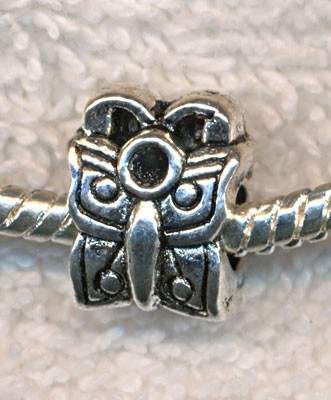 Antique Silver Pewter Butterfly Large Hole Bead, Butterfly Big Hole Charm Bead