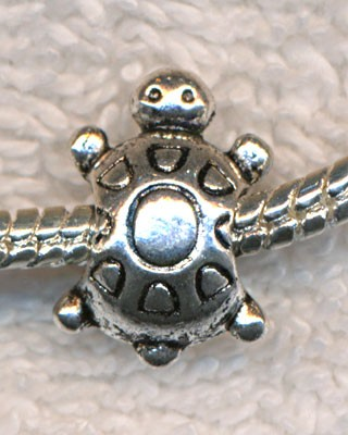 Silver Pewter Turtle Big Hole Beads 15x10mm 10 per bag