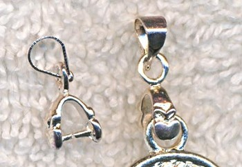 Small Bails, Silver Plated Pinch Bail with Heart