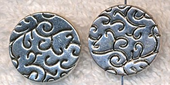 Fancy 20mm Coin Beads, Double Sided Antique Silver (6)