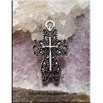 Tibetan Silver Lace Cross Pendant, 26x14mm Cross Jewelry