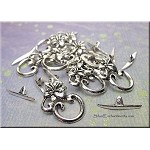 Flower Toggle Clasps, Antique Silver (10)