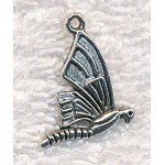 Silver Butterfly Pendant, Antique Silver Pewter Butterfly Charm, 26x18mm (1)