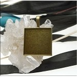 Brass Inlay Square Bezel Frames or Picture Frame Pendants, Bailed 20mm (10)