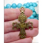 SOLDOUT - Antique Brass Cross Pendant with Holy Spirit Dove, Flower and Ichthus
