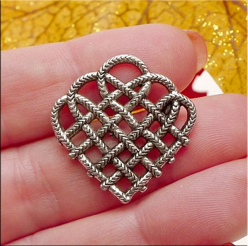 Woven Celtic Heart Pendants, Antique Silver Celtic Hearts (10)