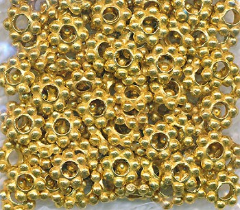 6mm Daisy Spacers, Bright Gold Finish Daisy Spacer Beads, Bulk (100)