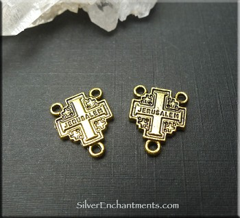 Gold Pewter Jerusalem Cross Rosary Centerpieces 15x12mm 15 per bag