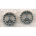 Peace Beads, Peace Sign Slotted Separator Beads (10)