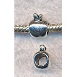Apple Large Hole Beads, Antique Silver (10)