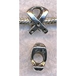 Silver Awareness Ribbon Beads, Antique Silver Pewter European Big Hole Beads, Bulk (10)