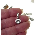 Heart Glue-on Bails, Antique Silver (20)