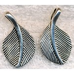 Tibetan Silver Leaf Pendants, Bailed Double Sided, 28x16mm Bulk (10)