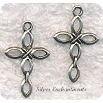 Link Cross Pendants, Antique Silver (10)